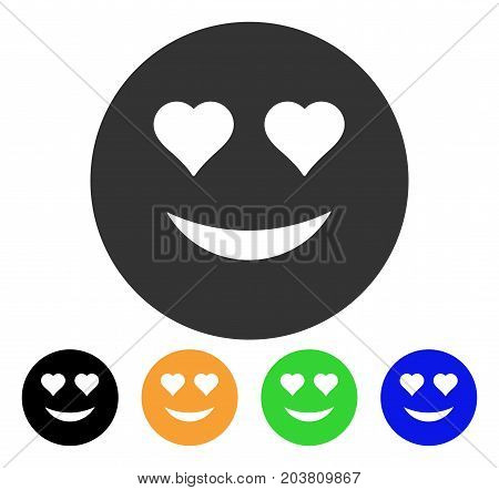 Love Smiley icon. Vector illustration style is a flat iconic love smiley symbol with black, grey, green, blue, yellow color versions. Designed for web and software interfaces.