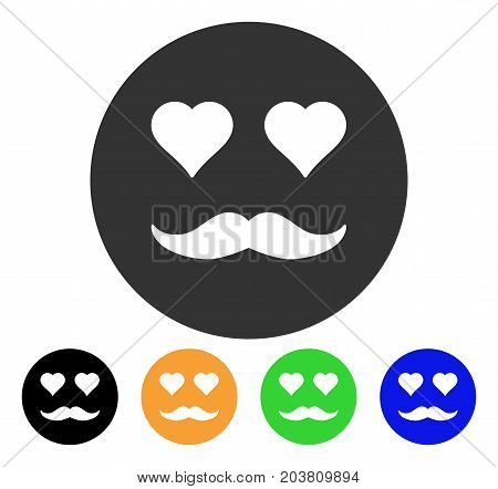 Lover Smiley icon. Vector illustration style is a flat iconic lover smiley symbol with black, grey, green, blue, yellow color variants. Designed for web and software interfaces.