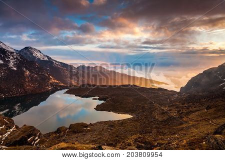 Gosaikunda lake on a beautiful sunset. Nepal, the Himalayas.