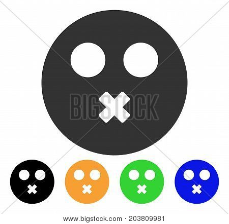 Mute Smiley icon. Vector illustration style is a flat iconic mute smiley symbol with black, grey, green, blue, yellow color variants. Designed for web and software interfaces.