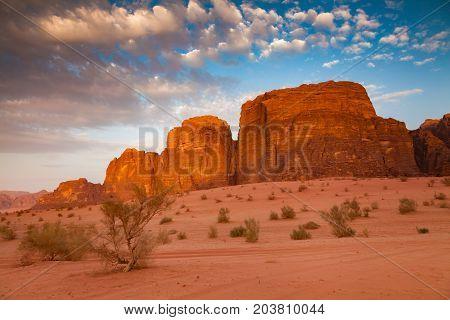 Wadi Rum Desert in Jordan at the beautiful dawn.
