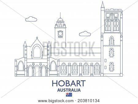 Hobart Linear City Skyline Australia. Famous place