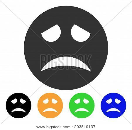Sadness Smiley icon. Vector illustration style is a flat iconic sadness smiley symbol with black, grey, green, blue, yellow color versions. Designed for web and software interfaces.