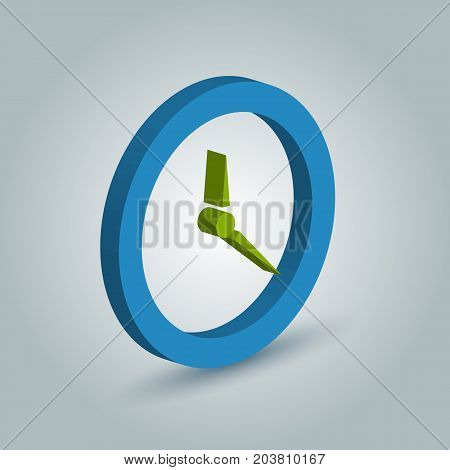 Three dimensional Clock icon with shadow on gray background