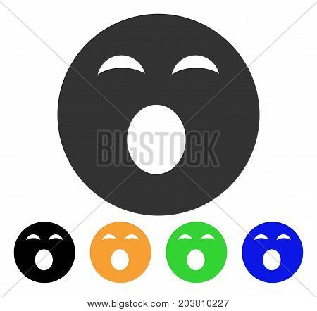 Sleepy Smiley icon. Vector illustration style is a flat iconic sleepy smiley symbol with black, gray, green, blue, yellow color versions. Designed for web and software interfaces.