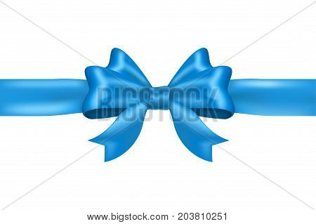 Blue tied ribbon bow. Vector 3d illustration isolated on white background