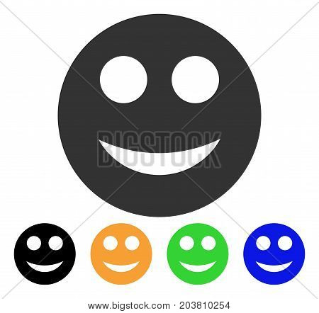 Smile Smiley icon. Vector illustration style is a flat iconic smile smiley symbol with black, gray, green, blue, yellow color versions. Designed for web and software interfaces.