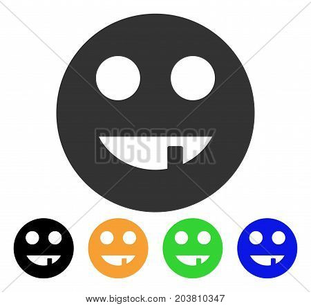 Tooth Smiley icon. Vector illustration style is a flat iconic tooth smiley symbol with black, gray, green, blue, yellow color variants. Designed for web and software interfaces.