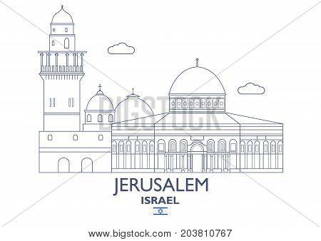 Jerusalem Linear City Skyline Israel. Famous place