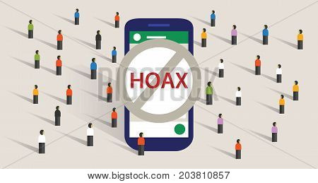 hoax news spread using group chat messaging app smart phone communication group of people vector