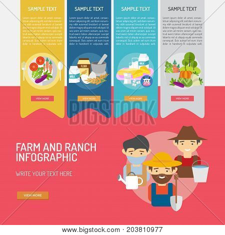 Infographic Farm and Ranch | Use for farm, ranch, agriculture, harvest, industry and much more. The set can be used for several purposes like: websites, print templates, presentation templates, promotional materials, info