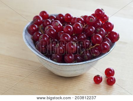 image of freshly picked organic redcurrant laid in a ceramic dish on a pine table room for copy space