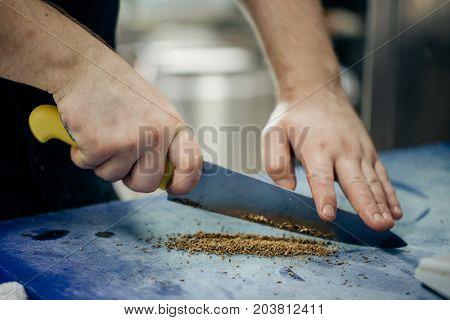 Chef Cooking Food Kitchen Restaurant Cutting