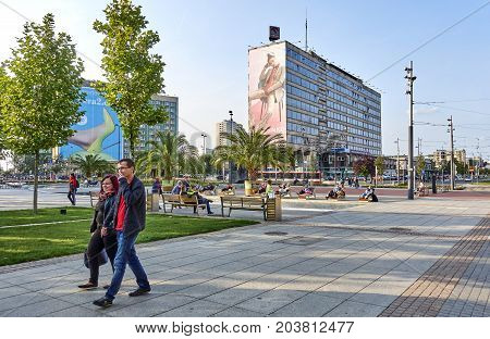 Katowice, Poland - September 8, 2017: Main Square In Front Of Th