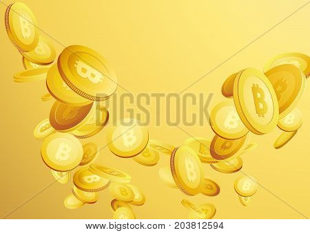 Bitcoins investment background concept representing flying golden money. Currency fortune rain layout template. Vector illustration