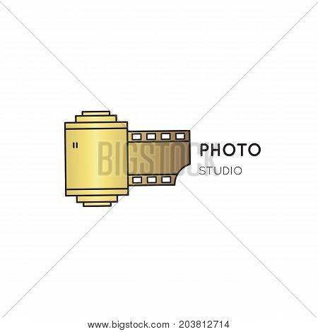 Vector thin line icon, camera roll silhouette. Logo template illustration for photographer, photography studio, shop or school. Isolated symbol. Simple mono linear modern design with golden foil.