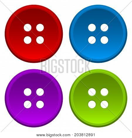 Sewing buttons. Vector 3d illustration isolated on white background