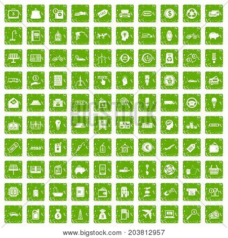100 economy icons set in grunge style green color isolated on white background vector illustration