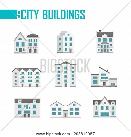 Nine city buildings set of icons - vector illustration on white background. Double, three, five-storey houses with nice facades, balconies. Various shapes of roofs. Grey and blue color