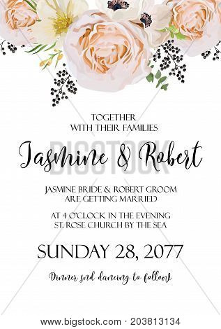 Wedding floral Invitation invite vector watercolor card Design with pink peach Rose flower anemone camellia flowers black berry wax plant leaf bouquet wreath garland elegant border crown. Copy space