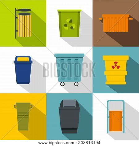 Trash bin icon set. Flat style set of 9 trash bin vector icons for web design