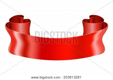Red ribbon scroll. Shiny silk title banner. Vector 3d illustration isolated on white background