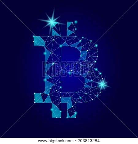 Crypto currency bitcoin. Net banking mining future technology vector concept. Cryptography finance digital worldwide coin low poly polygonal triangle icon illustration art