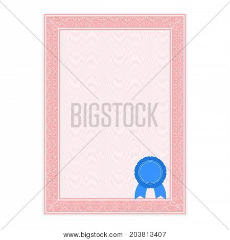 Pink paper with ornamental frame and sealing wax. Vector illustration isolated on white background