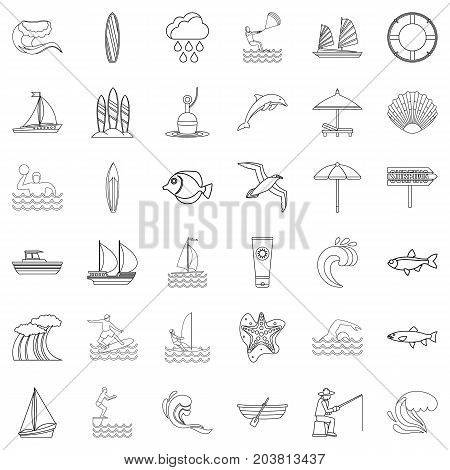 Water creature icons set. Outline style of 36 water creature vector icons for web isolated on white background