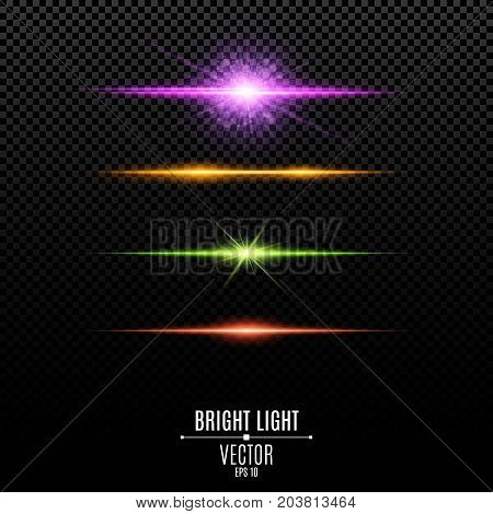 Set. Abstract purple orange green red glare and flashes isolated on a transparent background. Bright radiant star. Multicolor backlight and soft light. Vector illustration