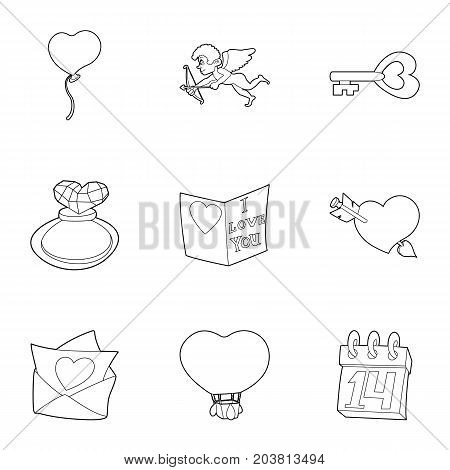 Happy valentine day icons set. Outline set of 9 happy valentine day vector icons for web isolated on white background