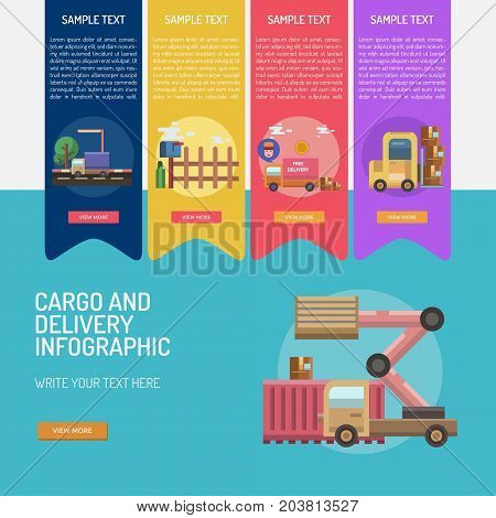 Infographic Cargo and Delivery | Set of great infographic flat design illustration concepts for cargo, delivery, industry, transport and much more.