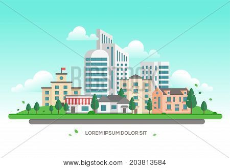 Urban landscape - modern vector illustration with place for text. Lovely town or city with skyscrapers and small low storey buildings and houses, trees, clouds in the sky