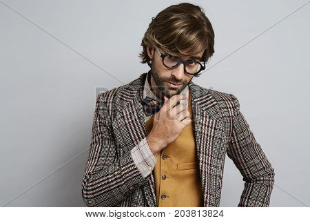 fashionable Cool geek guy in glasses portrait