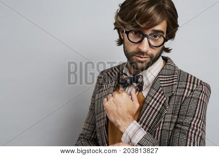 Seriously geek chic guy in glasses portrait