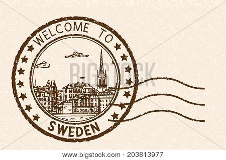 Welcome to Sweden. Brown postal stamp, round postmark with Stockholm sightseeings. Vector illustration