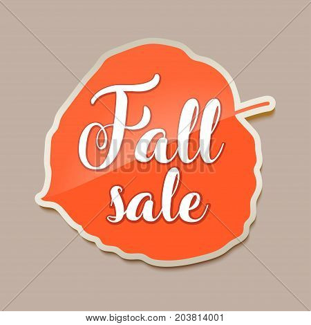 Fall sale banner with red fall aspen tree leaf. Vector illustration fall sale banner with red aspen tree leaf. Yellow sticker for autumn sale with leaf. Autumn discount.