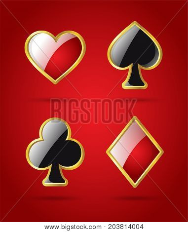 Poker card suits - modern vector isolated clip art illustration on shiny red background. Hearts, spades, diamonds, clubs with a glossy effect. Casino, gambling, luck, fortune concept