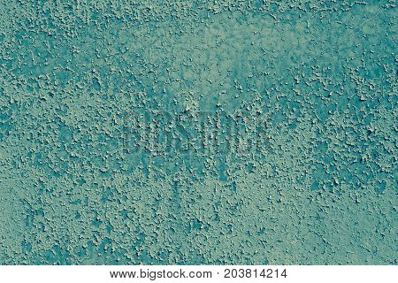 Abstract Background Texture. Metal Wall With Obsolete Paint Blue Color.