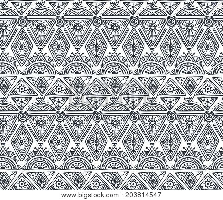 Black and white ethnic tribal seamless pattern with hand drawn elements. Vector aztec geometric print. Hipster endless background.