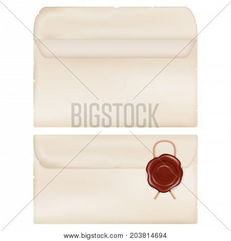 Envelope with seal wax. Vector 3d illustration isolated on white background