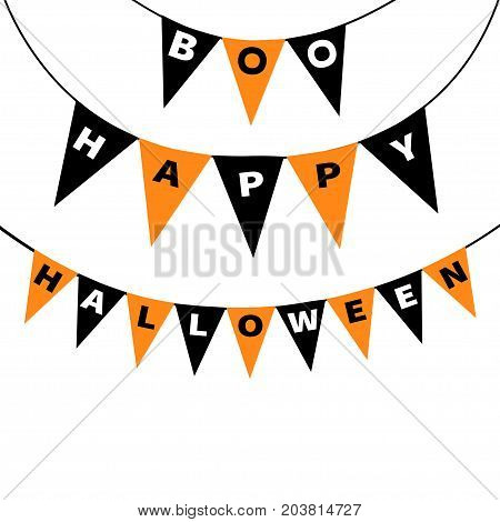Bunting flags pack Boo Happy Halloween letters. Flag garland. Party decoration element. Hanging text on rope thread. Black orange triangle set. Greeting card. Flat design. White background. Vector