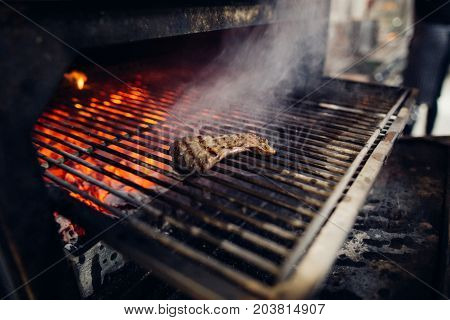 Empty Flaming Charcoal Grill With Open Fire, Ready For Product Placement