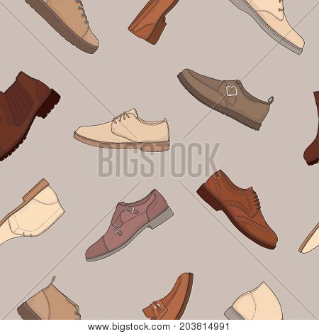 Colored seamless pattern with various types of men s footwear - derby, oxfords, loafers, moccasins, brogues, monks, desert boots, boat shoes. Vector illustration for wallpaper, textile print