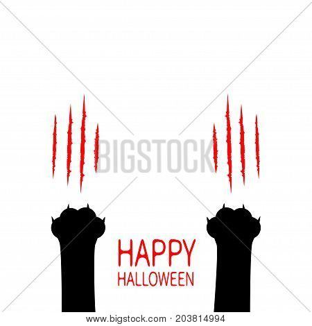 Happy Halloween card. Bloody claws animal scratch scrape track. Two black cat scratching paw leg foot set. Cute cartoon character silhouette. Baby pet collection. Flat design. White background. Vector poster
