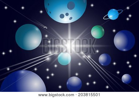 Space background. Universe with stars, planets and comets. Vector illustration EPS10