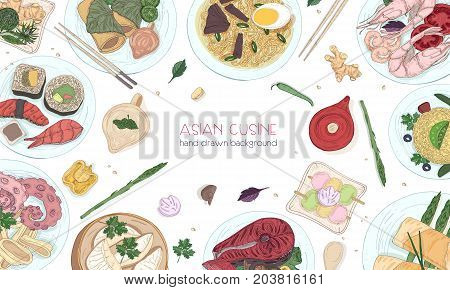Elegant colored hand drawn background with traditional Asian food, detailed tasty meals and snacks of oriental cuisine - wok noodles, sashimi, gyoza, fish and seafood dishes. Vector illustration