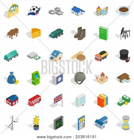 Wealth icons set. Isometric style of 36 wealth vector icons for web isolated on white background