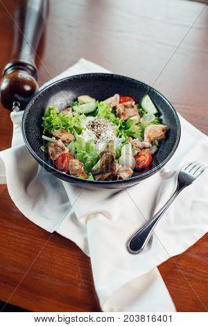 Chicken Caesar Salad. Caesar Salad With Grilled Chicken On Plate
