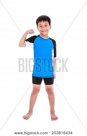 Asian Strong Boy Is Flexing His Biceps Muscle. Isolated On White Background.